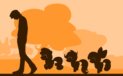 Size: 3872x2384 | Tagged: safe, artist:azdaracylius, apple bloom, scootaloo, sweetie belle, human, pony, cutie mark crusaders, fanfic art, silhouette