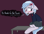 Size: 3000x2364 | Tagged: safe, artist:pinkberry, imported from ponybooru, oc, oc:winter azure, clothes, colt, dialogue, femboy, flower, flower in hair, girly, jacket, male, school uniform, skirt, solo, speech, talking, text, trap